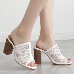 Block Heel Lace Slippers - WHITE