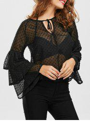 Keyhole Layered Bell Sleeve Sheer Blouse