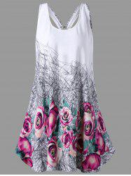 Floral U Neck Open Back Tank Top - WHITE