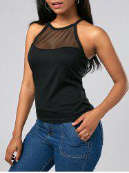 Mesh Insert See Thru Tank Top - BLACK