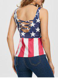 American Flag Print Criss Cross Top