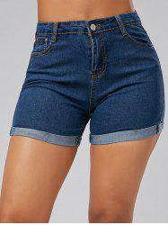 High Waisted Skinny Mini Denim Shorts - BLUE S