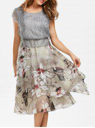 Bohemian Floral Midi Peplum Dress - GRAY