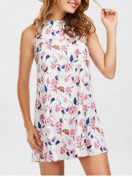 Floral Print Mock Neck A Line Dress