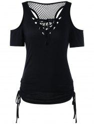 Openwork Cold Shouder Lace Up T-shirt - BLACK