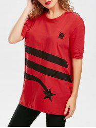 Star Striped Print Tunic T Shirt