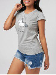 Unicorn Print Crew Neck Cap Sleeve Tee -