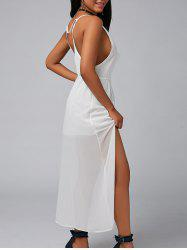 Backless High Split Chiffon Maxi Party Dress - WHITE