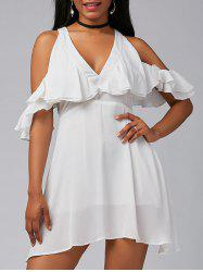 V Neck Ruffle Cold Shoulder Chiffon Mini Dress - WHITE