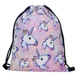 Drawstring Unicorn Print Backpack - COLORMIX
