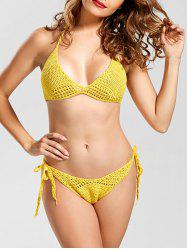 Halter High Cut Crochet Bikini Set