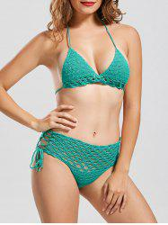 Halter Crochet String Bikini Set