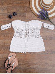 Off The Shoulder Lace-Up Crochet Swimsuit