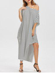 Loose Fit Skew Neck Striped Asymmetric Dress - STRIPE