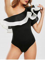 Flounce One Shoulder Bodysuit - BLACK M
