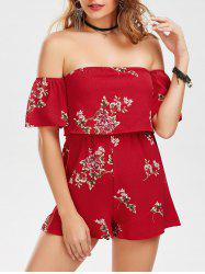 Floral Print Off The Shoulder Romper -