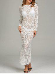 Backless Sheer Lace Long Sleeve Maxi Dress