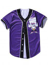 Button Up Cartoon Print Baseball Jersey