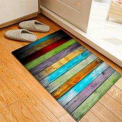 Colorful Striped Pattern Water Absorption Flannel Area Rug - COLORMIX