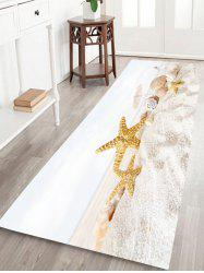 Beach Starfish Conch Pattern Water Absorption Flannel Area Rug