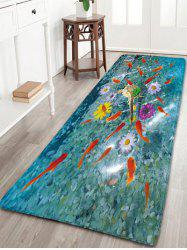 Goldfish Print Bathroom Skid Resistant Flannel Rug