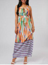 Tie Dye High Waist Spaghetti Strap Dress