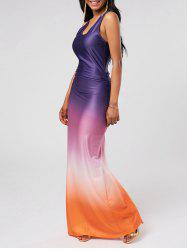 Racerback Ombre Floor Length Evening Dress