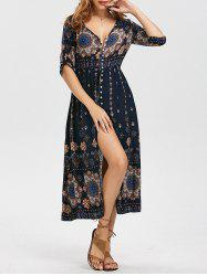 Bohemian High Split Tribal Print Dress -