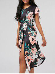 Floral Front Slit Midi Dress with Pockets