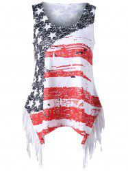 Plus Size Fringed American Flag T-shirt