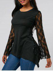Lace Up Bell Sleeve Party Tunic Tee