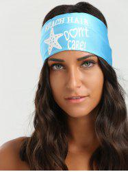 Hip-Pop Letters Starfish Printed Elastic Headband - AZURE
