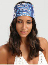 Wide Elastic Ethnic Flower Pattern Headband - BLUE