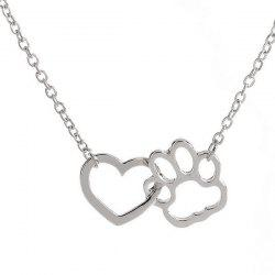 Hollowed Heart Claw Pendant Necklace - SILVER