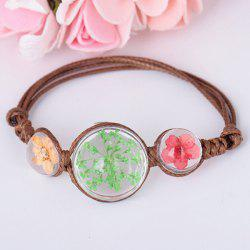 Adjustable Glass Dry Flower Braid Rope Bracelet