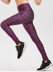 Allover Graphic Leggings - PURPLE