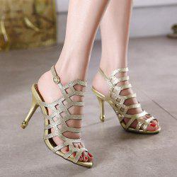Belt Buckle Glitter Sandals - GOLDEN