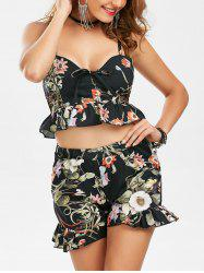 Ruffle Floral Camis and Shorts - BLACK