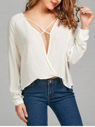 Criss Cross High Low Wrap Blouse