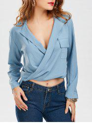 Pocketed Wrap High Low Blouse