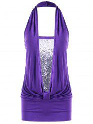 Sequins Ruched Halter Tank Top