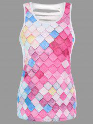 Cut Out Geometric Print Tank Top - MULTI