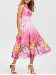 Bohemian Floral Butterfly Print Maxi Dress - PINK