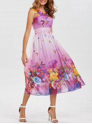 Bohemian Floral Butterfly Print Maxi Dress - LIGHT PURPLE