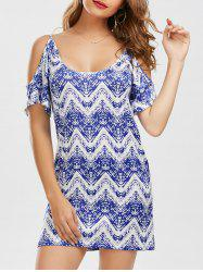 Cold Shoulder Zig Zag Dress - BLUE