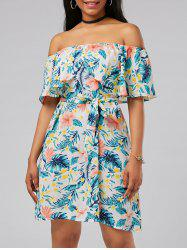 Off The Shoulder Belted Floral Print Dress