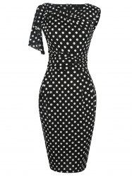 Flounce Drape Polka Dot Print Pencil Dress - Noir
