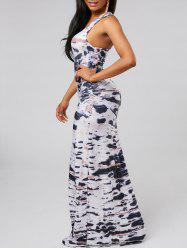 Racerback Tie Dye Floor Length Dress - WHITE