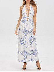 Sleeveless Halter Plunge Backless Floral Maxi Dress