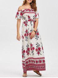 Off The Shoulder Floral Belt Maxi Dress - WHITE